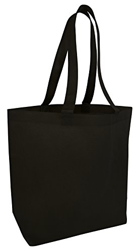 (50 Pack) Set of 50 Large Budget Spruce Promotional Tote Bags with Bottom Gusset (Black)