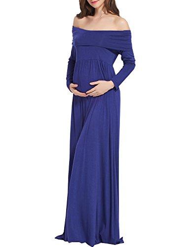[Ruici Women Cowl Neck Long Sleeves Long Maternity Maxi Dress] (Maternity Fancy Dress Uk)