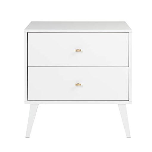 Bedroom Prepac Milo Mid Century Modern Nightstand, 2-Drawer, White modern bedroom furniture
