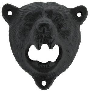Bear Opener - Sea Star ® Cast Iron Wall Mount Grizzly Bear Teeth Bite Bottle Opener (Black Bear)