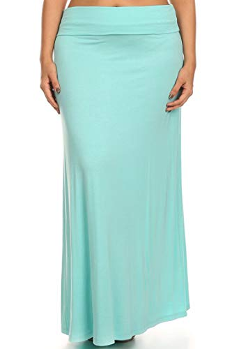 Plus Size Solid Print Casual Office Work Flare High Waist Maxi Skirt/Made in USA Aqua 2XL ()