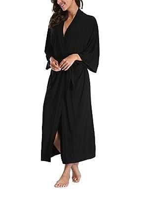 Women's Cotton Kimono Robes,Long Dressing Gown Soft Bathrobes Loungewear Sleepwear