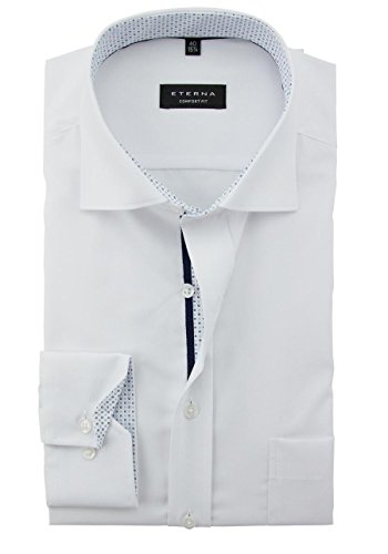 ETERNA hommes Confort ajustement chemise à manches longues en chambray, blanc