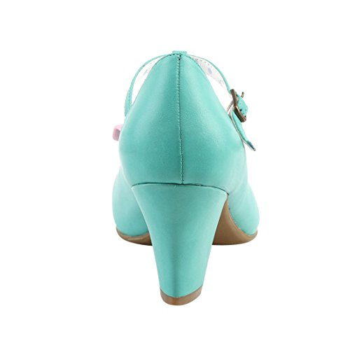 Pinup Teal Leather Pink Pumps Couture Faux Damen HqxA4Hwr