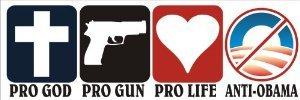 Pro God Pro Guns Pro Life Anti Obama Bumper (Obama Stand)