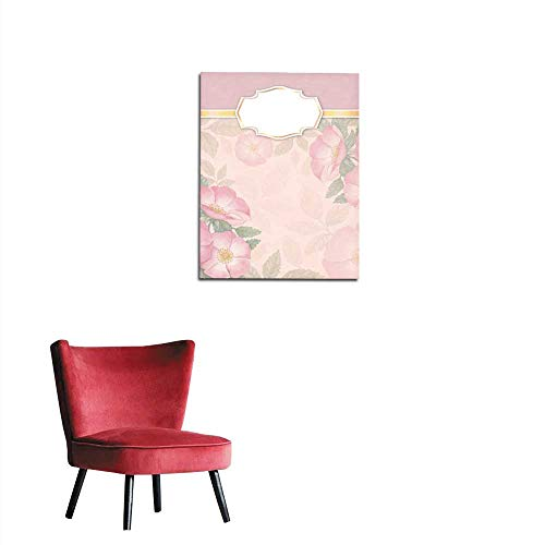 longbuyer Wall Sticker Decals Artistic Invitation with Watercolor Illustration of Dog-Rose Mural 16