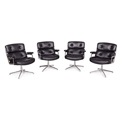 Vitra Set Chair - Vitra ES 108 Lobby Designer Leather Premium Armchair Set Black by Charles Eames Genuine Leather 1970s Chair