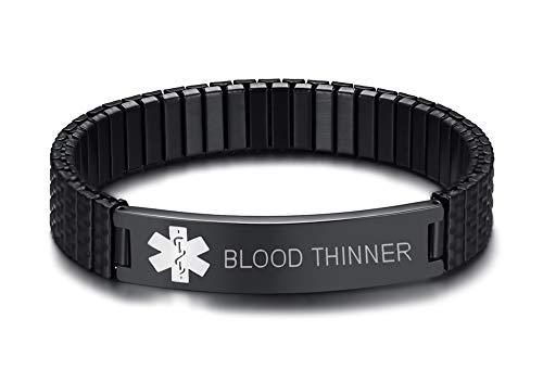 MEALGUET Blood THINNER Stainless Steel Black Medical Alert ID Stretch Allergy Medical Bracelet for Men Women