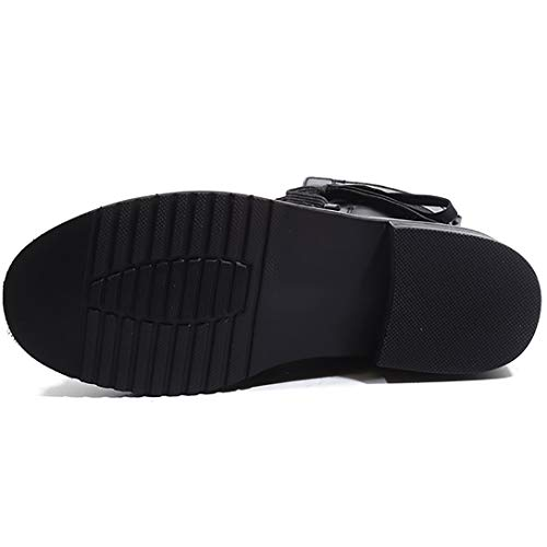 Womens high Eleeraser Round Buckle Heel Leather Boots Toe Black Knee ELEHOT Block 7Hndw7qX