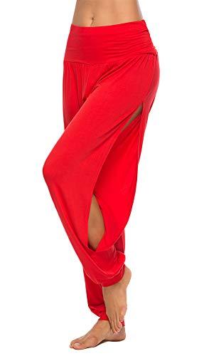 AvaCostume Womens Harem Yoga Pants Side Slit Sport Workout Sweatpants Red L (Harem Yoga Red Pants)
