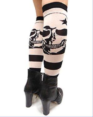 Knee High Socks-Punk Skull & Stripes