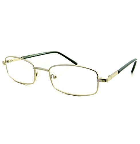 VINTAGE Rectangle Metal Optical Frame Unisex Clear Lens Eye Glasses (Silver, - Men Silver Glasses