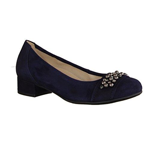 Gabor Comfort 86214-36- Damenschuhe Modieuze Pompen / Ballerina, Blauw Leer (samtchevreau), Hielhoogte: 35 Mm Blauw