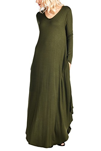 Ami Dress Maxi USA V Made Sleeve XXXL Curved S 12 Hem Neck in Olive Long HqdAg8