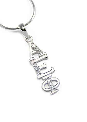 The Collegiate Standard Alpha Epsilon Phi Sterling Silver Lavaliere with Czs