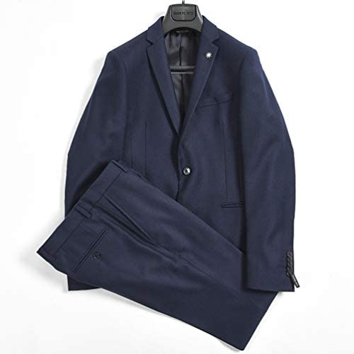[マニュエル リッツ] スーツ テーラード ジャケット シングル 2B ノータック スラックス メンズ 3シーズン 無地 ネイビー 紺【並行輸入品】