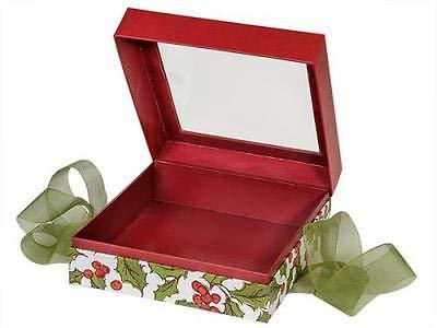 (OKSLO 1 unit holly berry tidings x-large square box ribbon 7-3/4x7-3/4x3 unit pack 12)