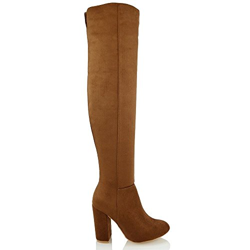 Heel Faux Over High GLAM Suede Ladies Knee ESSEX High Boots Block Thigh Womens Mocca The f1w4E0q