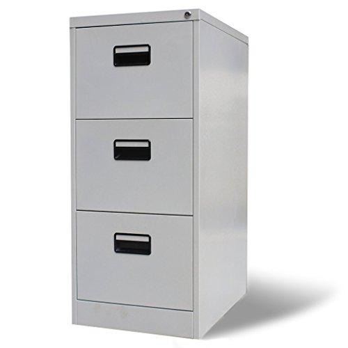 vidaXL Metallschrank Hängeregisterschrank Büroschrank 3 Schubladen grau