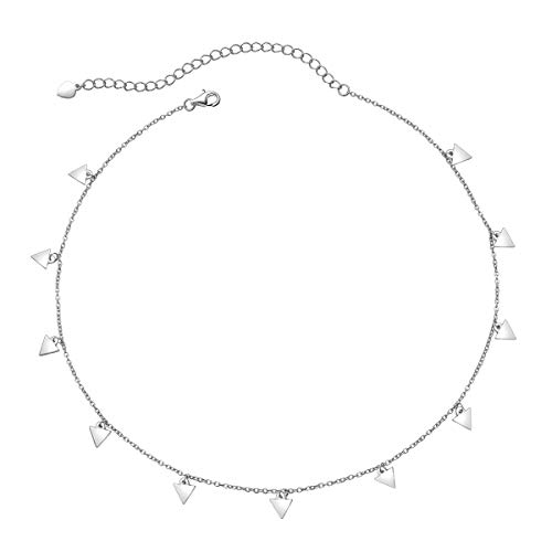 Sterling Silver Jewelry Choker Necklace Pendant Disc Chain Statement Necklace For Women Girls 13+3 inches (Triangle)