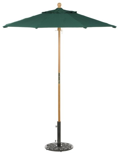 Oxford Garden Sunbrella 6-Foot Market Umbrella, Hunter Green - Vented for comfort and stability Frames are made of sturdy 8 ribbed tropical hardwood Sunbrella 100% solution dyed acrylic - shades-parasols, patio-furniture, patio - 31yI8YX7SxL -