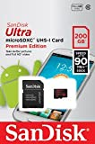 SanDisk Ultra microSDXC UHS-I Card Premium Edition , 200 GB , SPEED UP TO 90 MB/s 600x ( class 10 )