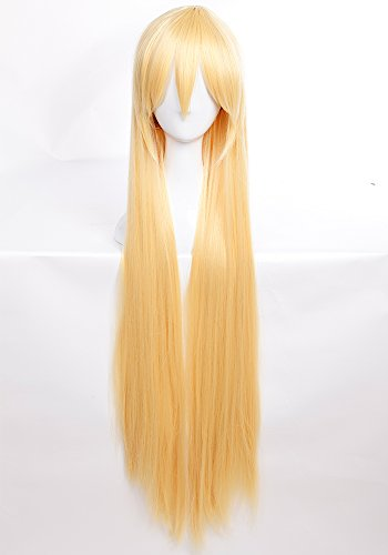 Heat Resistant Synthetic Wig Japanese Kanekalon Fiber 6 Colors Full Wig with Bangs Long Straight 40'' / 100cm Wig for Women Girls Lady Fashion and Beauty (golden blonde)