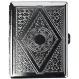 Credit Card Cigarette Case Wallet (Victorian Style Classic Metallic Silver Color Double Sided King and 100s Cigarette Case Holder and Credit Card RFID Protective Security Wallet (Diamond))
