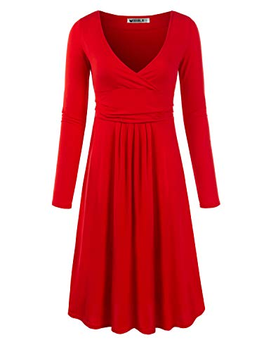 CLOVERY Women¡¯s Long Sleeve V Neck Casual Flared Midi Dress Plus Size Red XXX-Large