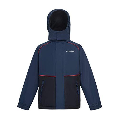 (YINGJIELIDE Boys Girls Hooded Waterproof Jacket Fleece Lined Rain Coat Spring Fall Outdoor Windbreaker Navy 2-3 Years)