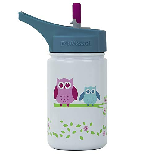 EcoVessel SCOUT Kids Stainless Steel Water Bottle with Flip Straw top and Silicone Straw - 13 Ounces - White Owls