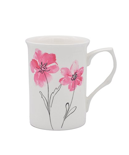 Elegant Flower Fine Bone China Mug & Tea Cup 10 oz, Gorgeous Gift - Set of 2 (Pink Sakura) (2 Fine China Bone)