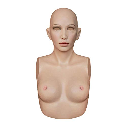 Silicone Breast Forms Full Head Female Mask Fake Boobs C Cup for Crossdresser Transgender,SF-A3 Beige