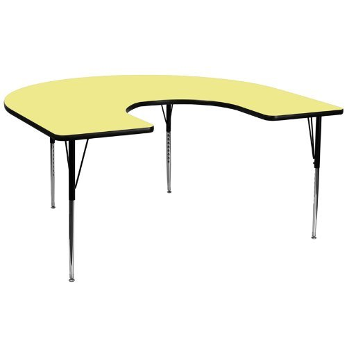 Flash Furniture 60''W x 66''L Horseshoe Activity Table with Yellow Thermal Fused Laminate Top and Standard Height Adjustable Legs [XU-A6066-HRSE-YEL-T-A-GG]