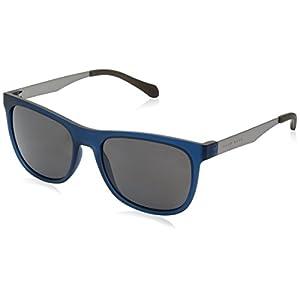 BOSS by Hugo Boss Men's B0868s Square Sunglasses, Matte Blue Beige/Gray Polarized, 55 mm