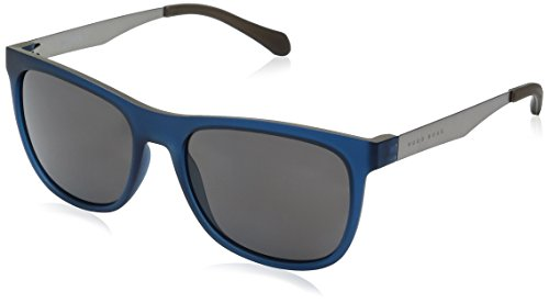 BOSS by Hugo Boss Men's B0868s Square Sunglasses, Matte Blue Beige/Gray Polarized, 55 - Sunglasses Hugo Boss Mens
