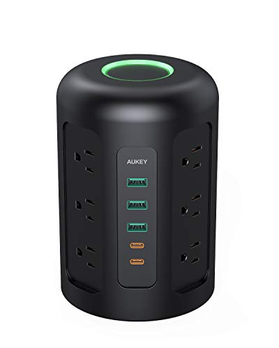 AUKEY Power Strip Tower with 12 AC Outlets, 2 USB-C Ports, 3 USB Ports, and 5ft Power Cable, Charging Station for Smartphones, Tablets, Laptops, AirPods Pro, Power Banks, and More (Black)