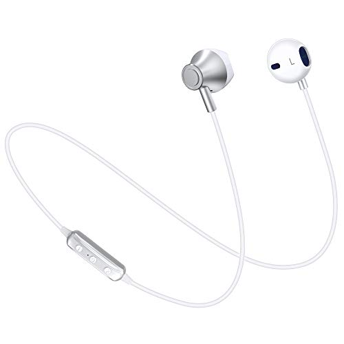 Wireless Headphones, [140 Hours Stand-by Time] 4.1 Magnetic Bluetooth Earbuds, Bluetooth Sports Earphones Headsets Earpieces Mic Compatible for Samsung S9/S8/S6 Note 8/7 (White)