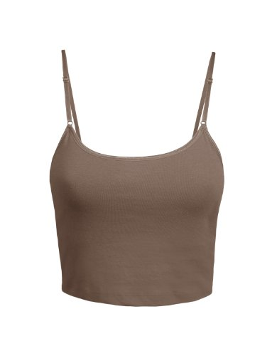 LE3NO Womens Basic Solid Fitted Cami Crop Top with Stretch