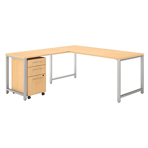 Bush Business Furniture 400 Series 72W x 30D L Shaped Desk with 42W Return and 3 Drawer Mobile File Cabinet in Natural Maple (Levelers Roll Off)