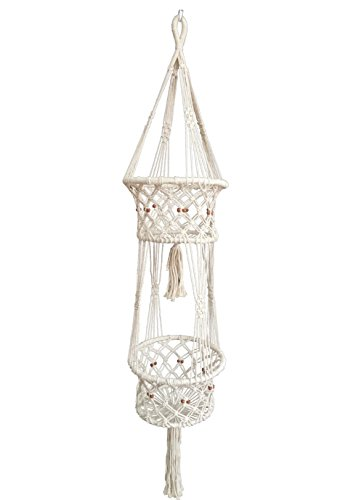 Cheap 4 Legs Large Macrame Cotton Plant Hanger & Plant Holders with Bamboo Ring Inside and Brown Wood Bead Decoration Double Plates,Beige Color, 51-inches