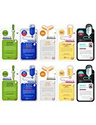 MEDIHEAL Best 5 Type Combo Mask Sheet Pack of 10 - Teatree, N.M.F Aquaring, Vita Lightbeam, Collagen Impact, W.H.P White Hydrating