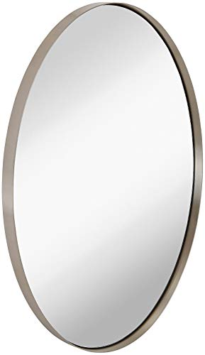 Hamilton Hills Contemporary Brushed Metal Wall Mirror | Oval Silver Framed Rounded -