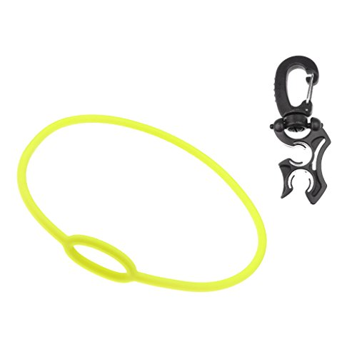 MonkeyJack Black 2'' Long Scuba Diving Double Hose Holder with Rotate & Fold Clip + 28'' Yellow Regulator Necklace Dive Accessories by MonkeyJack