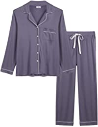 03c462aa70 Womens Soft Bamboo Pajama Sets Button Down Long Sleeve Pj Pants Set  Sleepwear