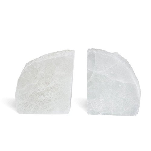 Hosley's Selenite Bookends, Approximately 5.5'' High, White. Ideal for Wedding, Party, Home Decor, Office, Spa. K9 by Hosley