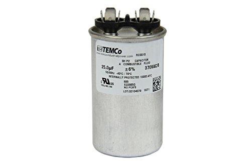 (TEMCo Motor Run Capacitor RC0010-25 mfd 370 V VAC Volt 25 uf Round HVAC TEMCo AC Electric)