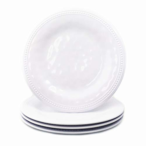 Melamine Plates Set of 4, 11inch Dinner Plates Set for Indoor and Outdoor Use, White