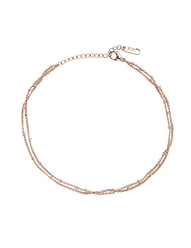 CEYIYA Rose Gold Ankle Bracelets for Women - Adjustable Dainty Layered Titanium Anklets Perfect for Teen Girls and Ladies;Fashion Stainless Steel Chain Foot Jewelry for Beach Wedding/Party/Holiday ()