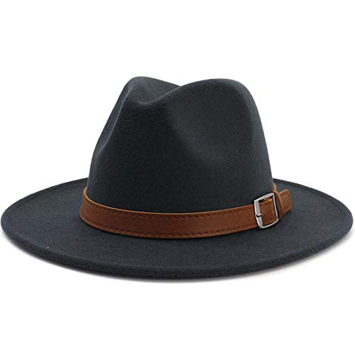 Lisianthus Men & Women Vintage Wide Brim Fedora Hat Dark Grey 58-60cm